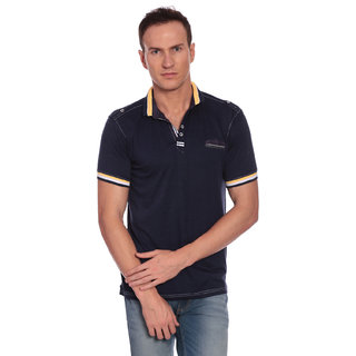 27Ashwood Men's Navy Mandarin T-shirt