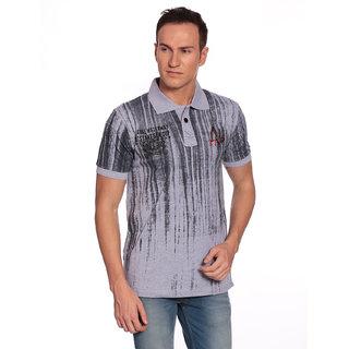 27Ashwood Men's Grey Melange Polo Collar T-shirt