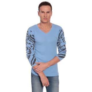 27Ashwood Men's Teal Blue V-Neck T-shirt