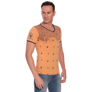 27Ashwood Men's Peach V-Neck T-shirt