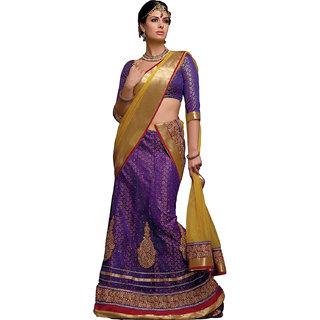 Melluha Purple Net  Brocade Unstitched Lehenga Choli