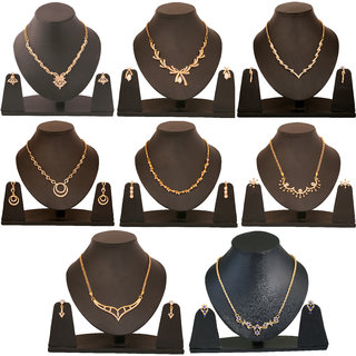 Touchstone Combo Of 8 Gold Plated Designer Necklace Sets