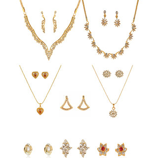 Touchstone combo of  Gold plated 2 Necklace sets  2 Pendant sets & 4 Pair of Earrings.