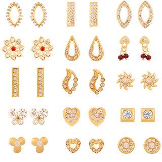 Touchstone Gold Plated Combo Of 15 Pair Designer Modern Earrings