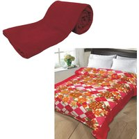 AB Buy Single Bed Plain Fleece Blanket  Get Single Bed Printed Fleece Blanket 350gm Assorted Free