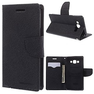 New Mercury Gospery Fancy Diary Walet Flip Case Back Cover for Lenovo K5+  (Black)