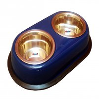 Petshop7 High Quality Stainless Steel Dog Double Dinner Set - Glossy Blue-450Mlx2 -Small