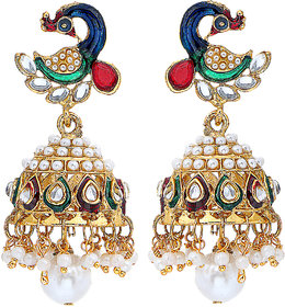 Om Jewells Traditional Ethnic Gold Plated Dancing Peacock Mor Jhumki Earrings with Kundan  Artificial Pearls ER1000038