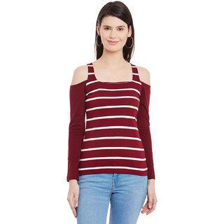 b0ac0c7b5b6 Buy Hypernation Striped Women's Square Neck Cold Shoulder Top HYPW01114  Online - Get 44% Off
