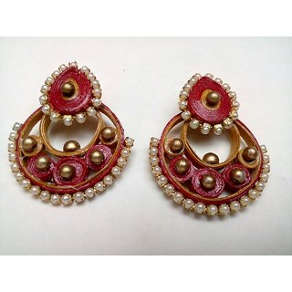 Red And Pearl round ear rings