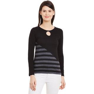 Hypernation Striped Women's Key Hole T-shirt HYPW01119
