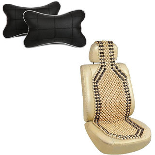 Pegasus Premium Wooden bead seat with neck rest For Hyundai Getz