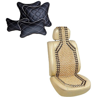 Pegasus Premium Wooden bead seat with Neck Rest And Pillow/Cushion Maruti Baleno