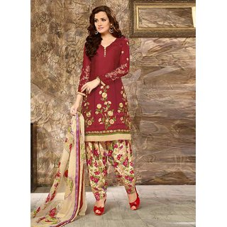 Swaron Maroon Embroidered Unstitched Dress Material