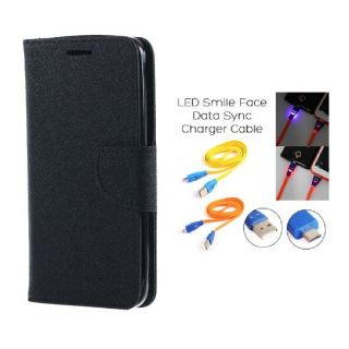 Micromax Canvas A1 Wallet Diary Flip Case Cover Black With Free Usb Simily Data Cable