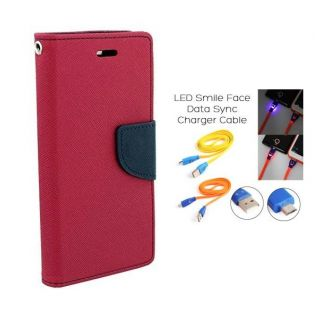 Micromax Canvas 2 Colors A120 Wallet Diary Flip Case Cover Pink With Free Usb Simily Data Cable