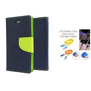 Micromax Canvas fire A093 Wallet Diary Flip Case Cover Blue With Free Usb Simily Data Cable