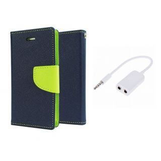 Micromax Canvas Nitro A310 Wallet Diary Flip Case Cover Blue With Free Aux Splitter