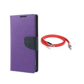 Micromax Canvas Juice 2 AQ5001 Wallet Diary Flip Case Cover Purple With Free Aux Cable