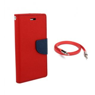 Micromax Bolt Q324 Wallet Diary Flip Case Cover Red With Free Aux Cable