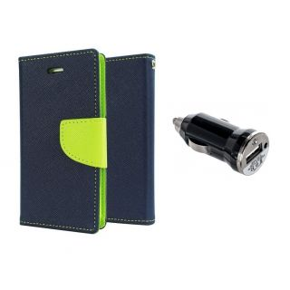 Micromax Canvas DOODLE A111 Wallet Diary Flip Case Cover Blue With Free Car Charger