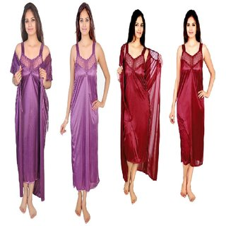 5334927c30 Buy RamE 2 PC Satin Mahroon and Purple colour Night