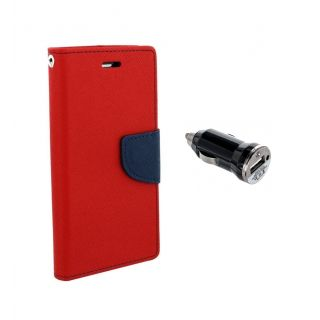 Micromax Canvas Juice 2 AQ5001 Wallet Diary Flip Case Cover Red With Free Car Charger