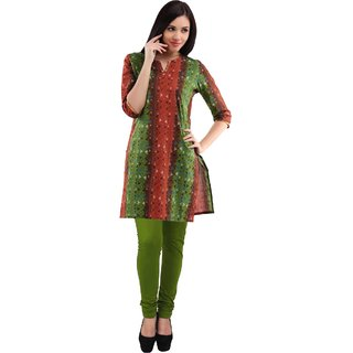 PRINTED ORANGE GREEN ASSORTED BASIC KURTA WITH SMALL  PATTEL WITH LEGGING.