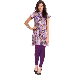 Miraaya Purple Assorted Kurta With Assymetrical Pipping With Legging