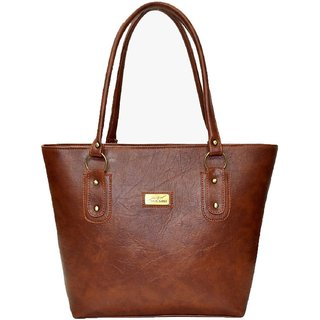 Clementine Brown Plain Handbag