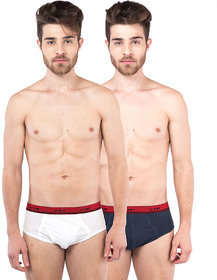 VIP Alpha Brief White,Blue Pack of 2 Briefs for Men