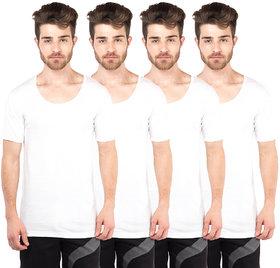 VIP Bonus Classic White Half Sleeve Vests Pack of 4 for Men