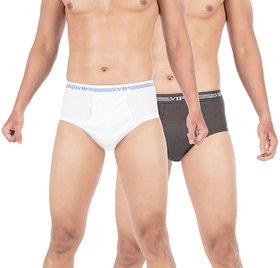 VIP Champ Brief White,Grey Pack of 2 Briefs for Men