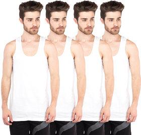 VIP Bonus Knitshrunk White Sleeve less Vests Pack of 4 for Men