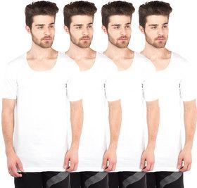 VIP Bonus Knitshrunk White Half Sleeve Vests Pack of 4 for Men