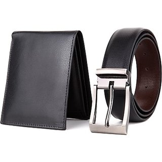 Rohilla Black Leatherite Formal Wallets With Belt