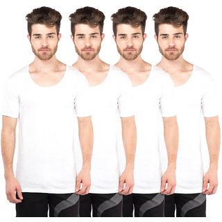 VIP Bonus Premium White Half Sleeve Vests Pack of 4 for Men