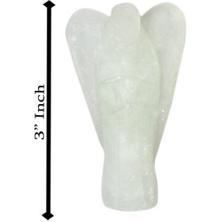 Gomati Ethnic Handicrafts Traditional White Quartz Stone Angel 3 Inch