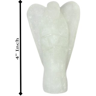Gomati Ethnic Handicrafts Traditional Decorative White Quartz Stone Angel 4 Inch