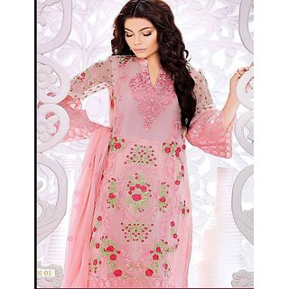 Thankar Pink Embroidery Faux Georgette Straight Suit