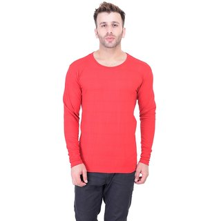 Bi Fashion Red Round Neck Full Sleeve T-Shirt for Men