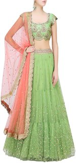 Pista Green Floral Sequins Embroidered Lehenga Set with Peach Dupatta
