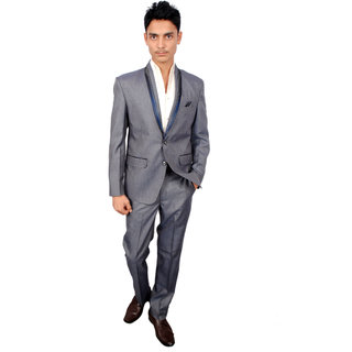 The Mods Gray Plain Blazer for Men