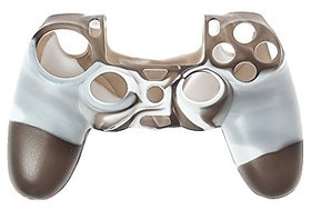 Microware PS4 Controller High Quality Protective Silicone Cover Case Sleeve Anti Slip Cover - White + Brown