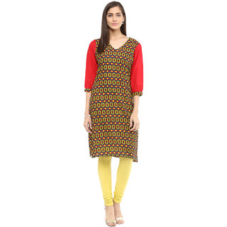 Rangeelo Rajasthan Printed Women's Short Straight Cotton Kurta(RR012RED)
