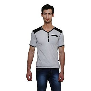 b14934a4002e Buy LE Bourgeois Grey V-Neck Half Sleeve T-Shirt for Men's Online - Get 40%  Off