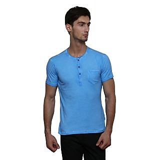LE Bourgeois Blue Button Front Half Sleeve T-Shirt for Men's
