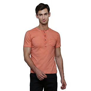 LE Bourgeois Orange Button Front Half Sleeve T-Shirt for Men's