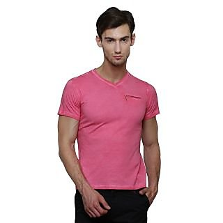 LE Bourgeois Pink V-Neck Half Sleeve T-Shirt for Men's