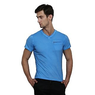 LE Bourgeois Blue V-Neck Half Sleeve T-Shirt for Men's